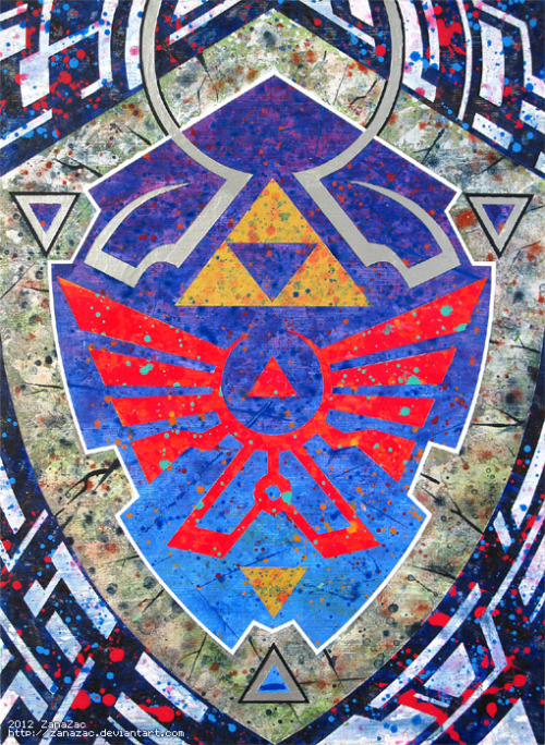 "zanazac:  Title: ""Shield of Hylia v.2""Date: Spring 2012Media: Acrylic on CanvasDimensions: 12 x 16 inches ♡ 2012 ZanaZacSharing is an act of love. Please copy and share.   Beautiful!"