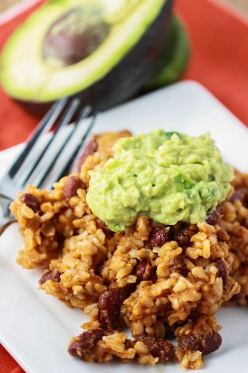 foodopia:  rice and bean casserole with guacamole: recipe here