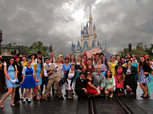 "disneybound:   The DisneyBound Meetup  My gosh! Wish I could've been there to see everyone in person! I see an Alice, Belle, Snow White, Prince Naveen, Mary Poppins, Briar Rose, Minnie Mouse and Pluto! If you were DisneyBounding at Dapper Day, post it on your blog and tag it with ""disneybound""! I love seeing the looks up close!  Yay!  I'm in this one!!!"