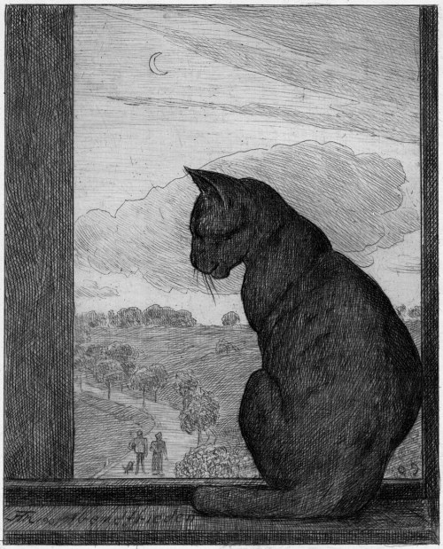 red-lipstick:  Hans Thoma (1839 - 1924, German) - The Cat, 1901      Etchings