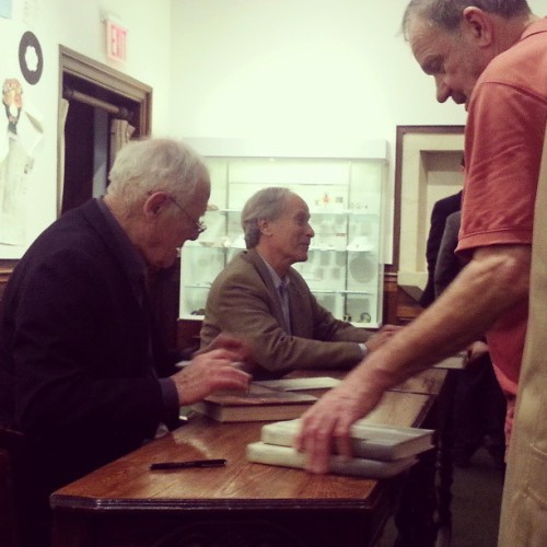 #92YReadings: James Salter and Richard Ford signing books after reading tonight (at 92nd Street Y)
