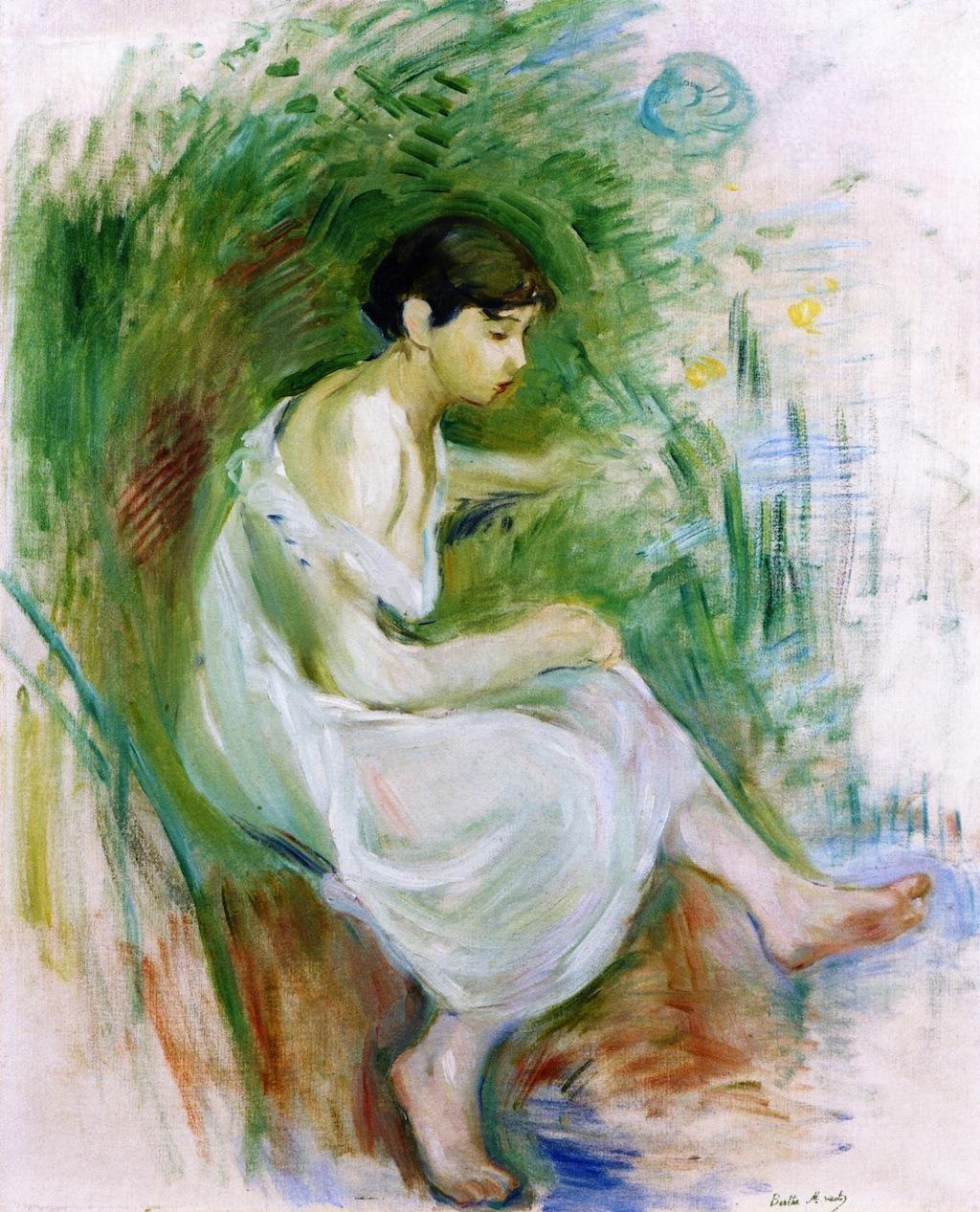 lonequixote:  Bather in a Chemise ~Berthe Morisot