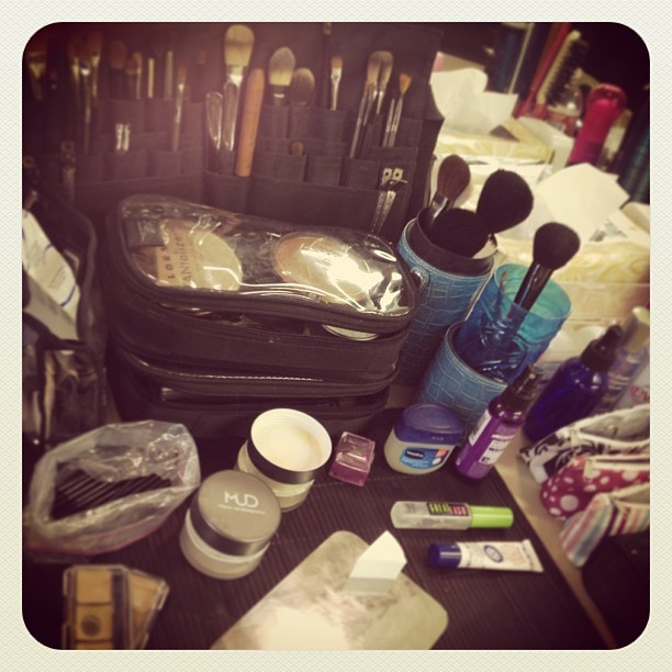 My set up this morning…. Just one more day as a busy little makeup girl