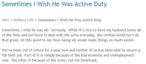 Army Reserves Wife, Rodneya, blogs about the diffculties of finding a job in the civilian world. Read More —>http://armywivesclub.blogspot.com/2013/05/sometimes-i-wish-he-was-active-duty.html