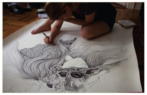hifructosemag:  Caitlin Hackett at work, feature in Hi-Fructose Magazine vol.17.