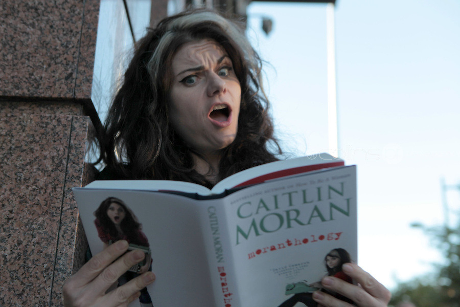 "Caitlin Moran reads, makes what she calls her ""open mouth Muppet face."""