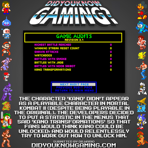didyouknowgaming:  Mortal Kombat II.  http://mortalkombat.wikia.com/wiki/Secret_character  Douchebag game moves.