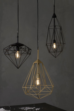 evrtstudio:  Diamonds by JSPR Industrial meets elegance in a wire pendant available in gold or black.