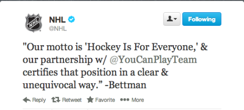 Awesome.  Great work, NHL.  NHL, NHLPA announce partnership with You Can Play Project