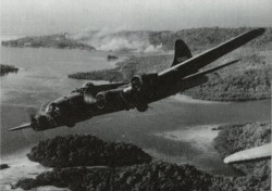 georgy-konstantinovich-zhukov:  A B-17 flys over the Gizo Islands in the Solomons.