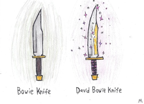 This is cute and all, but that David Bowie Knife is a bit too straight to be entirely accurate. thefrogman:  By Mackenzie O'Brien [tumblr | deviantART]