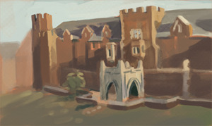 small impromptu painting of the villlage.. the sun went down so quickly!