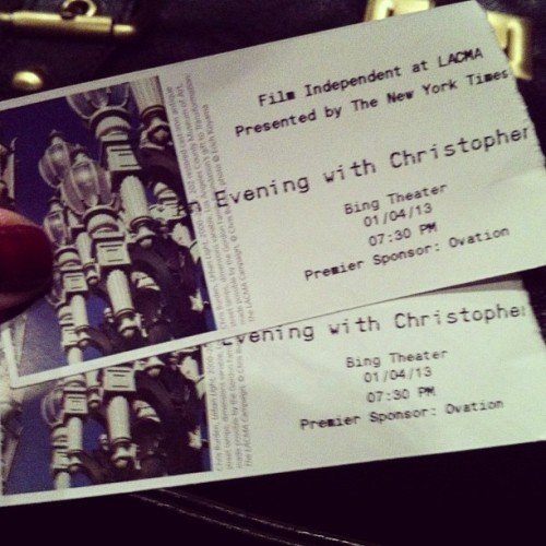 An evening with Christopher Nolan. They screened Following, and interviewed Chris Nolan about the film and his other works. (at Los Angeles County Museum of Art (LACMA))