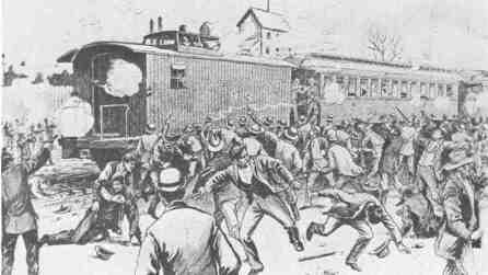 Today in labor history, May 11, 1894: With their wages slashed and no reduction in rent at the company housing, Pullman Palace Car Company factory workers walk off the job. The workers sought the support of the American Railway Union, which gave notice in June that its members would no longer work trains that included Pullman cars. The strike and boycott crippled railway traffic nationwide and at its peak involved 250,000+ workers in 27 states.