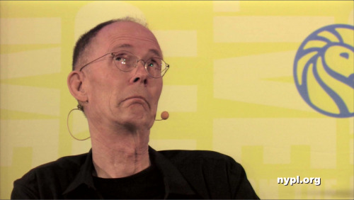 A great photo of William Gibson from LIVE at the NYPL! Check out the video here: http://on.nypl.org/15FwqnW