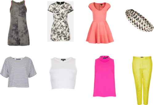 CURRENT TOPSHOP WISHLIST (always subject to change of course ;P) From Top left to right: 1. This playsuit/romper is SO cool.  It has such an edgy vibe with the print and the edgy stud and jewel neck and shoulder lining, however the feminine silhouette, balances it out in a really cool way.  This would be such a staple in my closet. 2. This floral playsuit is so feminine and lovely, I just adore it. 3. (I want the in the LEMON COLOR) OH MY GOD THIS DRESS!!!! The lemon color and feminine silhouette is so perfect for spring.  I want. I need. I must have! Hahaha 4.This lipstick print headband is sooooo cute like I need this. From bottom left to right: 1.  This tee has a really cute and effortless boxy shape, and stripes are trans-seasonal.  This top is a really good price as well for a reasonable, $30 bucks. 2. I really like this mesh crop, and I feel it can be dressed up or down. 3.  This azalea color is so beautiful.  This top would add a air of sophistication yet youth to any outfit, god I love it! 4.  Topshop is notorious for its cool and classy trousers.  I really like these lemon trousers that I feel could be a real staple. Current Topshop Wishlist! by delilahsdiaryofstyle featuring topshop  Topshop / Topshop / Topshop / Topshop / Topshop / Topshop floral romper / Topshop / Topshop