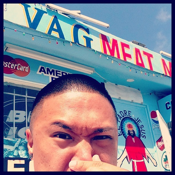 timothydelaghetto:  So I ordered the beef curtain sandwich and it smelled like fish. So weird!