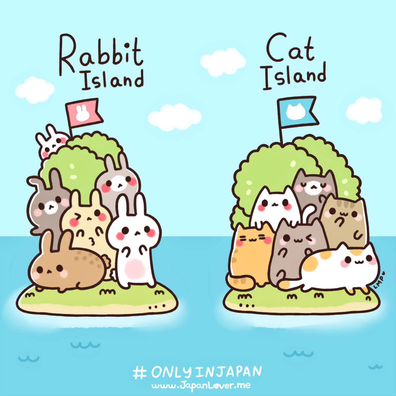 japanloverme:  Japan's rabbit island and cat island(s) are islands where hundreds of bunnies and cats (respectively) live freely~ with only very few people (residents/caretakers) who stay in the island to take