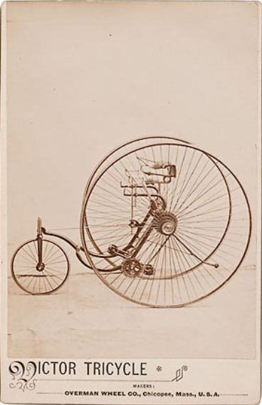 ca. 1870-80's, [cabinet card of an unusual high wheeled tricycle by Victor Tricycle Makers], Overman Wheel Co. via  Cowan's Auctions
