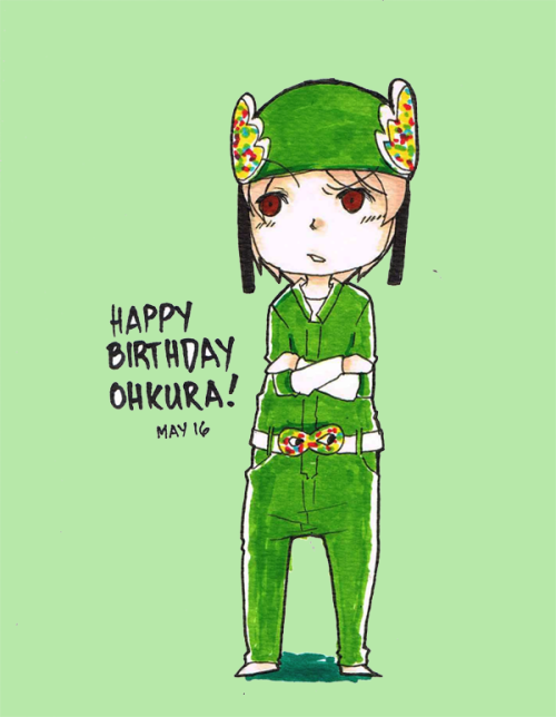 crimsonfire3:  Daily sketch + Bday art Happy 28th Birthday, Ohkura! LOL Ohkura and his inverted ranger hat during Neoki Dokkiri~