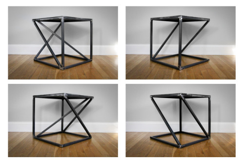 designersof:  Perspective Table - form changes with your perspective.  Four views of the table. www.cargocollective.com/adolfomoreno