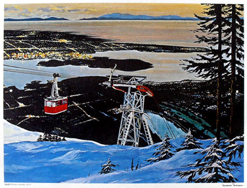 Vancouver Panorama, artist unknown, printed by Pierre Marc Products, Berkeley, California and distributed by the Vancouver Magazine Service Ltd. Because the Grouse Mountain tram is red, we can probably date this some time after or around 1976, when the original blue tram was upgraded with the new red Super Skyride tram. Seen via ebay.