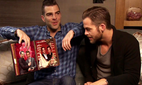 imwithkanye:  The Bromance Of Chris Pine And Zachary Quinto. (Yes, they are looking at their wedding album.)