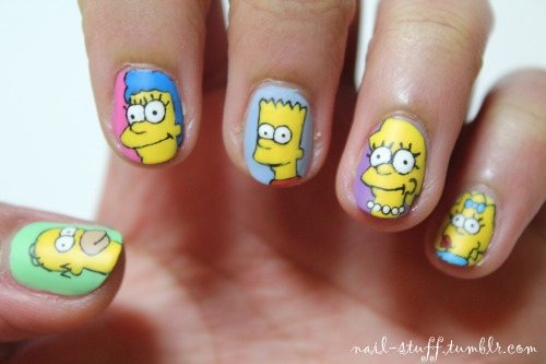 The Simpsons nails! I don't really watch the show, but my friend requested that I do these! I think they turned out pretty nice (considering that these were particularly difficult to do)! For the background colors I used Twiggie by Color Club, Pink Forever by Sinful Colors, Dreamer by Revlon, Wild Orchid by RImmel London and Mellow Yellow by Sally Hansen