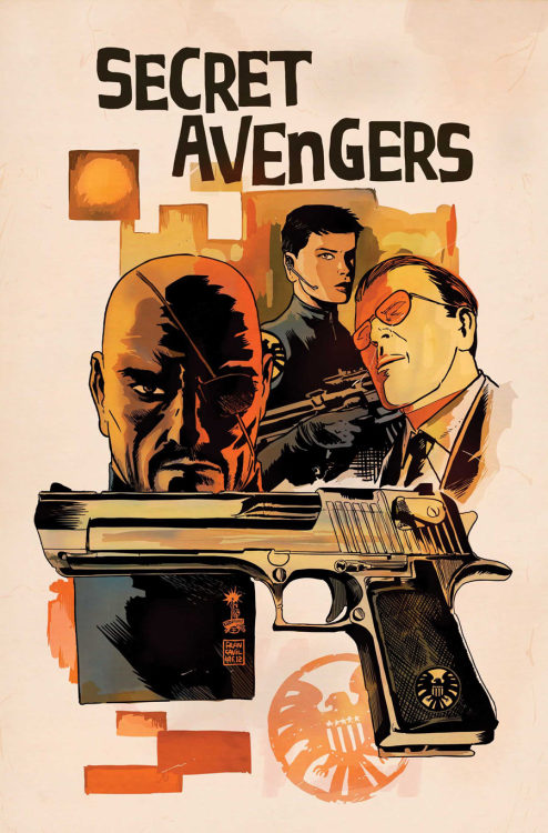 keaneoncomics:  Secret Avengers #5 also has this adequately pulpy variant cover by Francesco Francavilla.