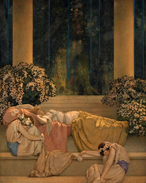 colourthysoul:  Maxfield Parrish, Sleeping Beauty