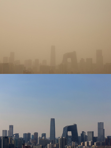 "Sandstorm sends Beijing pollution levels off the charts Officials are warning residents in Beijing and other parts of northern China about hazardous air pollution levels after strong winds blew in a sandstorm today. Air in the capital turned a yellowish hue and the sky turned into a noxious soup of smog and dust, NBC News reports. At 6 a.m. local time, the U.S. Embassy's air quality index showed a reading of 516 for particles less than 2.5 micrometers in diameter. On the American air pollution index, the air at that time and throughout much of the morning was classified as ""beyond index."" Photo: This composite image shows Beijing's skyline during Thursday's sandstorm (top) and during good weather on Feb. 19, 2013. (Feng Li / Getty Images)"