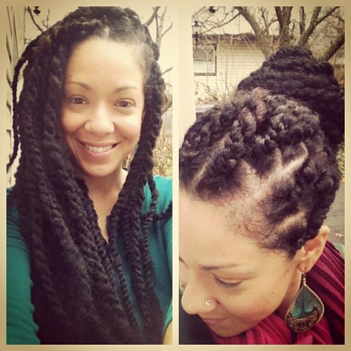 mixedhairitage:  Down & up. I guess they are okay, but upon not-so-close inspection you can see I used varying levels o thickness, they are different lengths, my hair is coming out in some places & I didn't curl the ends. Not my best work but because I've never done this before ill have grace on myself :) #HavanaTwists using #FingerComber wefted hair. Total time: 3 hours, not too shabby at all.  Next hairstyle, summer hairstyle, super excited, so antsy