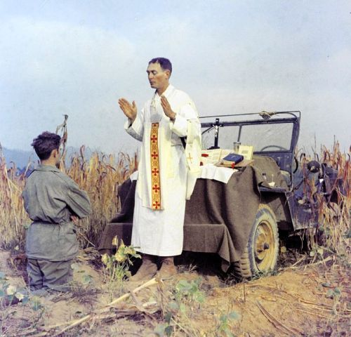 Emil Joseph Kapaun (April 20, 1916 – May 23, 1951) was a Roman Catholic priest and United States Army chaplain who died in the Korean War. The Roman Catholic Church has declared him a Servant of God and he is a candidate for sainthood. On April 11, 2013, President Barack Obama awarded the Medal of Honor posthumously to Captain Chaplain Kapaun. The medal was accepted by Kapaun's nephew at a White House ceremony.