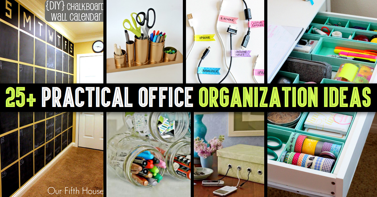 Cute diy projects 25 practical office organization for Office organization tips and ideas