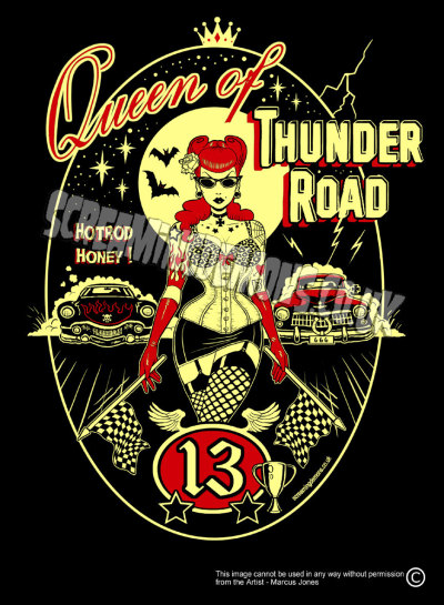 in-love-with-rockabilly:  Queen of Thunder Road Art Print by Marcus by TheGothabillyShop on We Heart It - http://weheartit.com/entry/52078544/via/Bozhena Hearted from: http://www.etsy.com/listing/107981108/queen-of-thunder-road-art-print-by#zoom