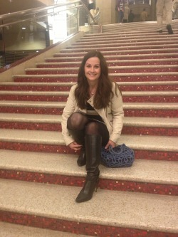 Sitting on the steps that many a star has walked - these are the steps that lead up to the Kodak Theatre where The Oscars are held
