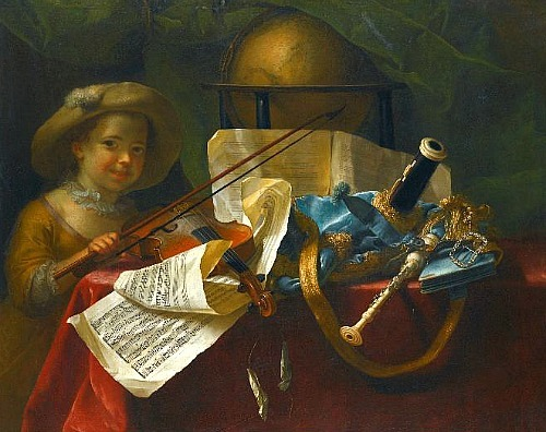 Nicolas-Henry Jeaurat de Bertry Still Life with Musical Instruments 18th century