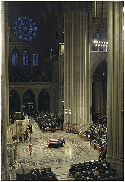 Dwight D. Eisenhower lying in state at the Washington National Cathedral.  3/29/69.