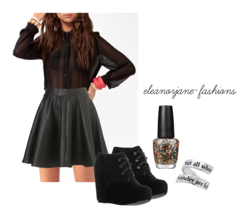 New Years inspired outfit Shirt (x) Skirt (x) Nail Polish (x) Ring (x) Shoes (x)