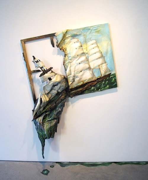 "Valerie Hegarty Sinking Ship (2012)  Inspired by the current political climate and Edgar Allen Poe's short story ""The Malestrom"", half a clipper ship painting seems to have hit a storm and is falling off the edge of the painting frame (or the world) dripping water or paint on the floor. The materials of the painting are now turning into the structure of the boat, with the canvas becoming sails and the stretcher bars becoming a mast."