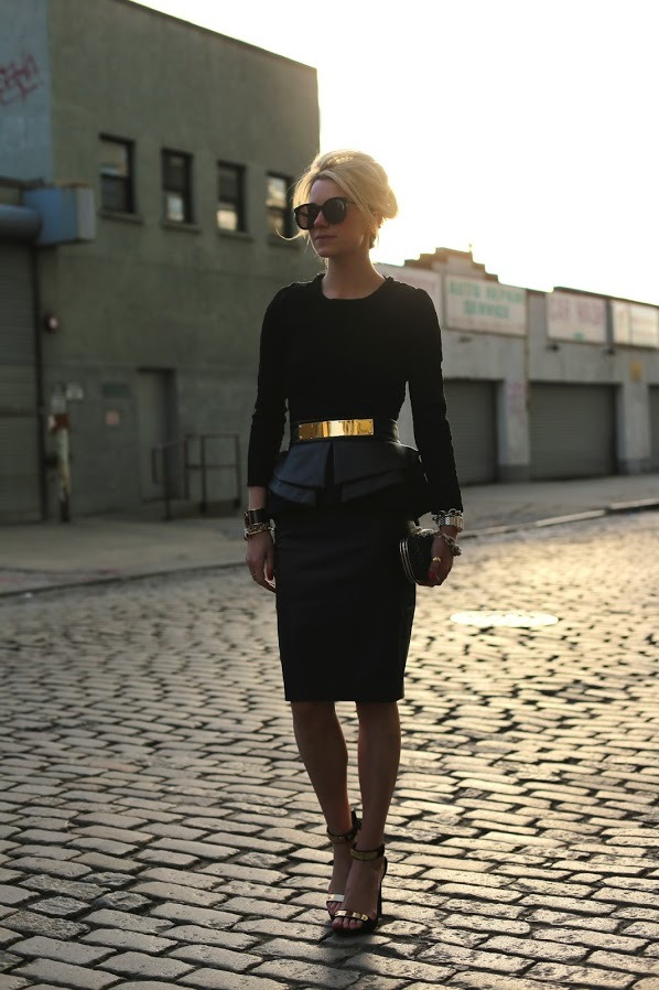 Metal belt + leather peplum skirt… well done, Blair Eadie.