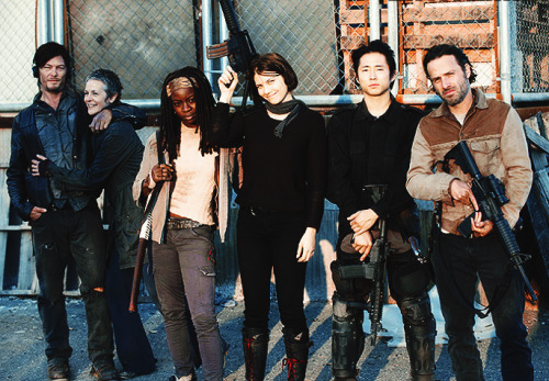 The Walking Dead cast on set of the finale