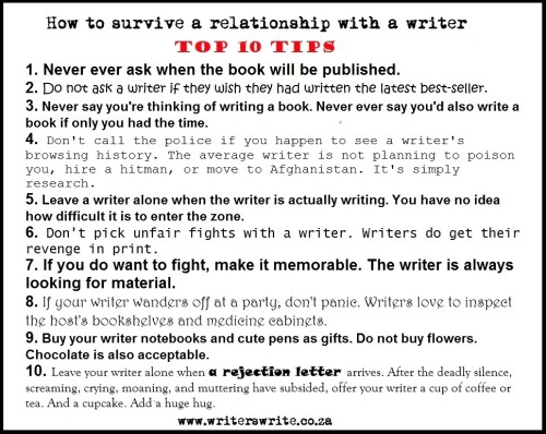 deirdre-writes:  amandaonwriting:  How to survive a relationship with a writer  all of these are like scary true (but considering the horrendous choice in fonts, I have to wonder if the person who made this is really a writer)  I might need this later, we'll see…