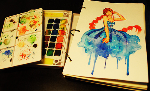 qinni:  Music is my fashion Done in watercolor. More of my daily sketches