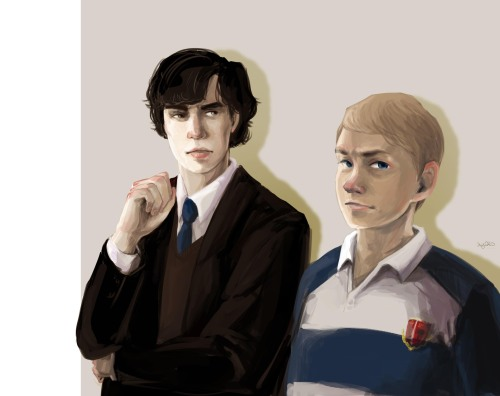 hjneo:  Lets draw Sherlock!  Teenage Sherlock and John. John's in a rugby team and Sherlock is just Sherlock.