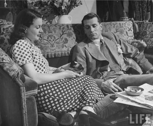 """Actor Laurence Olivier relaxing w. his actress wife Vivien Leigh & their Siamese cat in living room at home."" Photograph by Hans Wild, London, 1946. Source: LIFE Photo Archive, hosted by Google."