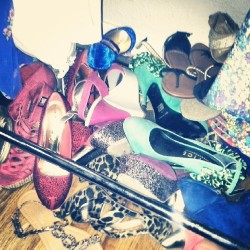 "Must organize my shoes #clusterfuck this speaks to my life moto ""life is short buy the shoes"" or the other ""life is short buy the tallshoes""  #donttellmetobreakaleg #shoeacide"