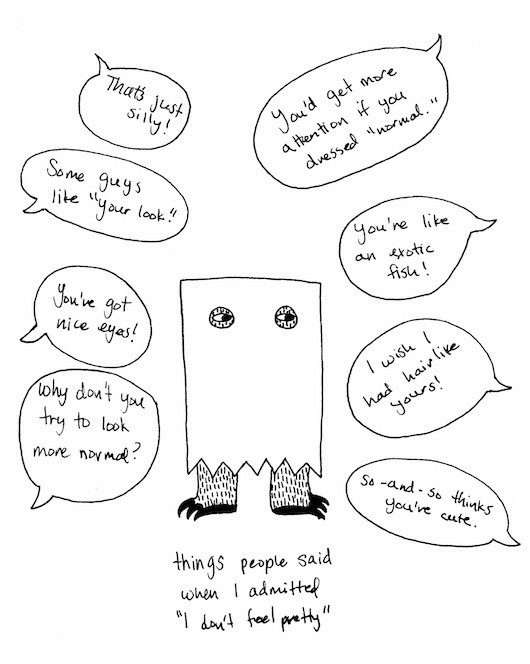 theclotheshorse:  I drew a thing & wrote a thing about not feeling pretty & stuff