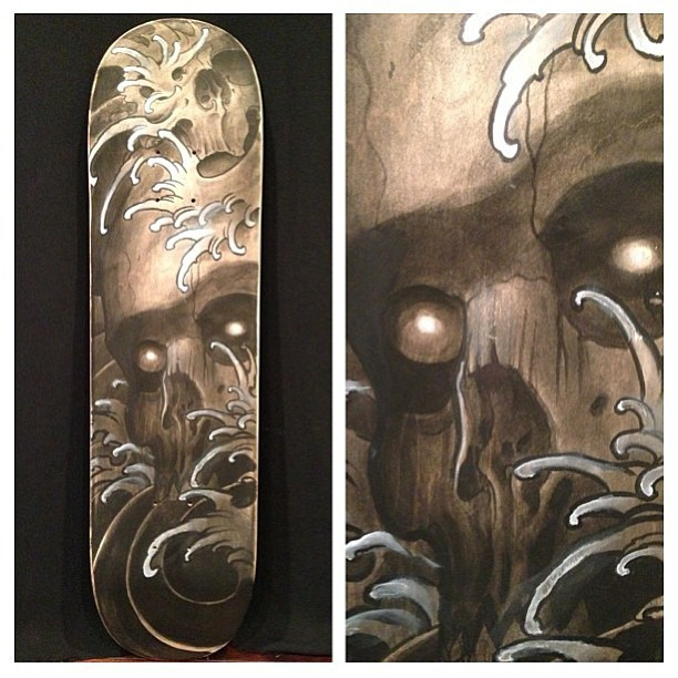 tattooculturemagazine:  Skate deck collaboration by Jesse Tseronis and Dennis Pase. @jtseronis @dptatt_layer #jessetseronis #dennispase #skate #skatedeck #painting #art #skull #tattooculturemagazine #tcm #followtcm *this account is managed by @nicki_tam. Please send submissions to nicki@ tattooartistmagazine.com.