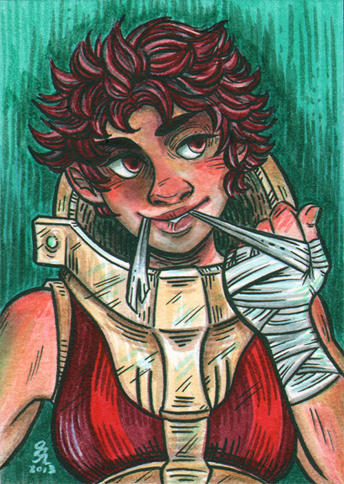"""I'll kill you twice!"" -SullyLate night sketchcard using the new markers I got in the mail. They're the Tombow Dual Brush Pens. Since they're water-based instead of alcohol based, I struggled with how it handled a bit, and I think it shows here particularly since my scanner is rather unforgiving, ugh. Unlike alcohol markers, layering too much with these markers will pick up the paper (in this case vellum bristol), and I also had to ink after I laid down the colors. I do like the markers' smoothness and transparency though, because they basically function like watercolors. I'll try them out on watercolor cards next time."